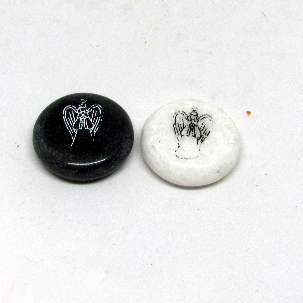 Black Or White Angel Worry Stone
