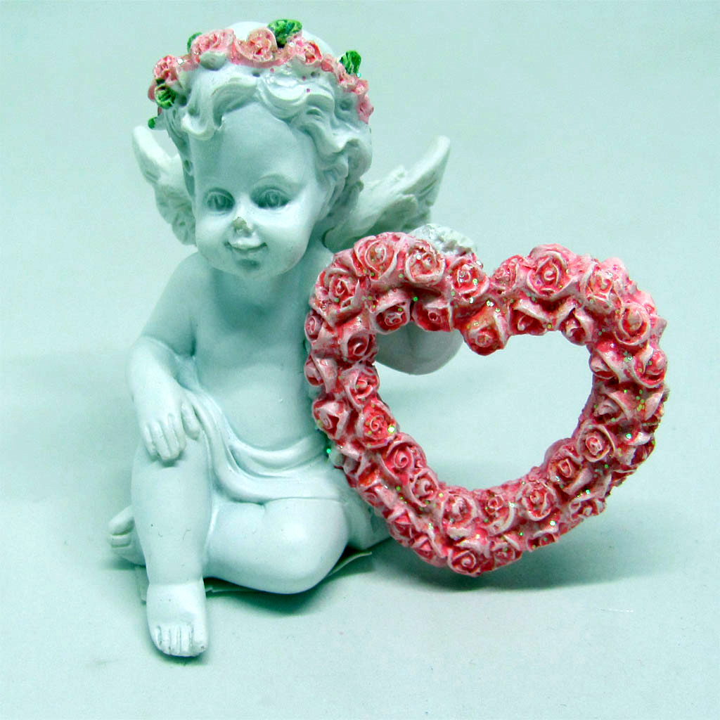 Sitting Angel with Pink Heart