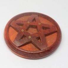 Wooden Incense Cone Holder Burner Ash Catcher Design Round