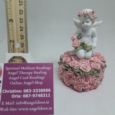 Angel On Rose Covered Heart Urn Box