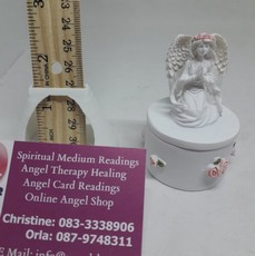 Angel On Round Urn Box