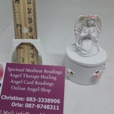 Angel On Round Urn Box