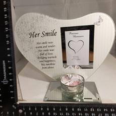 Her Smile Glass Tealight Holder/Photo Frame
